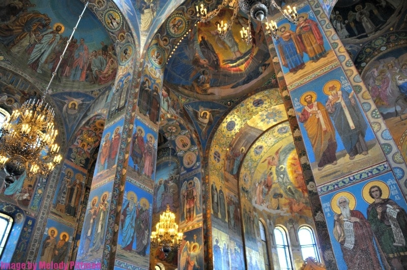 Fabulous painted walls at The Church on Spilled Blood.