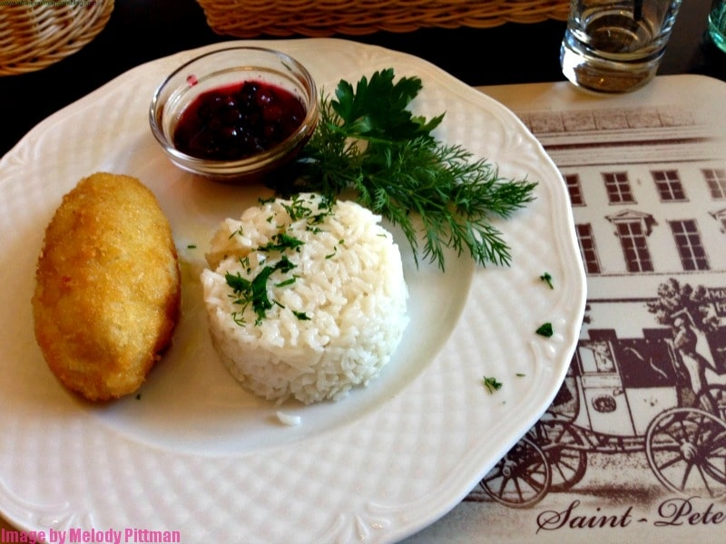 Chicken Kiev meal in St. Petersburg.