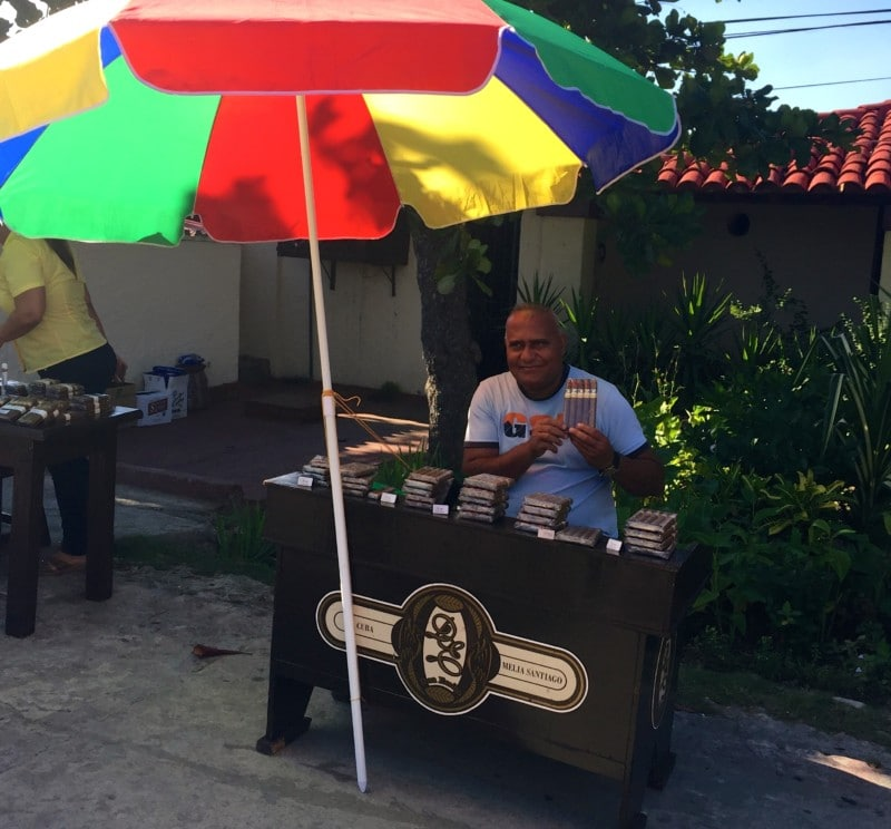 Man selling Cuban cigars at the Fort in Cuba.