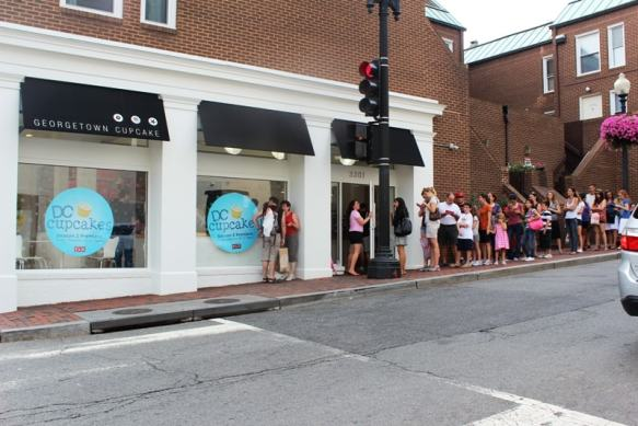 The long line outside of Georgetown Cupcake in Washington D.C.