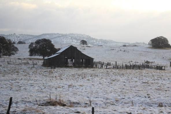 Snow on barn in California