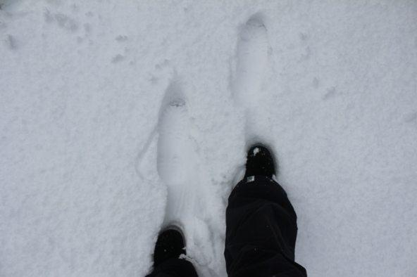 My feet in freshly fallen snow