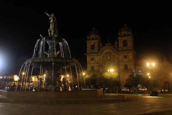 Church in Plaza de Armas at night