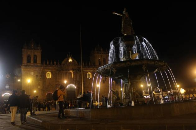 Plaza de Armas in Cusco at night