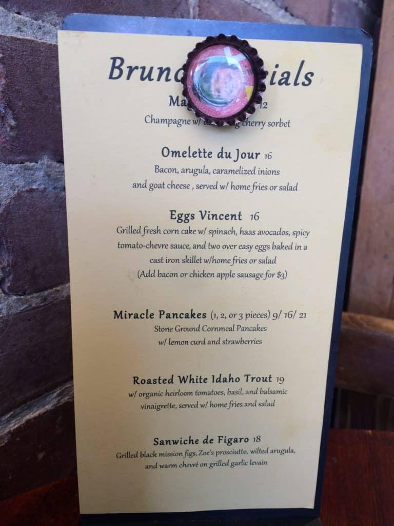 Zazie Brunch Specials menu