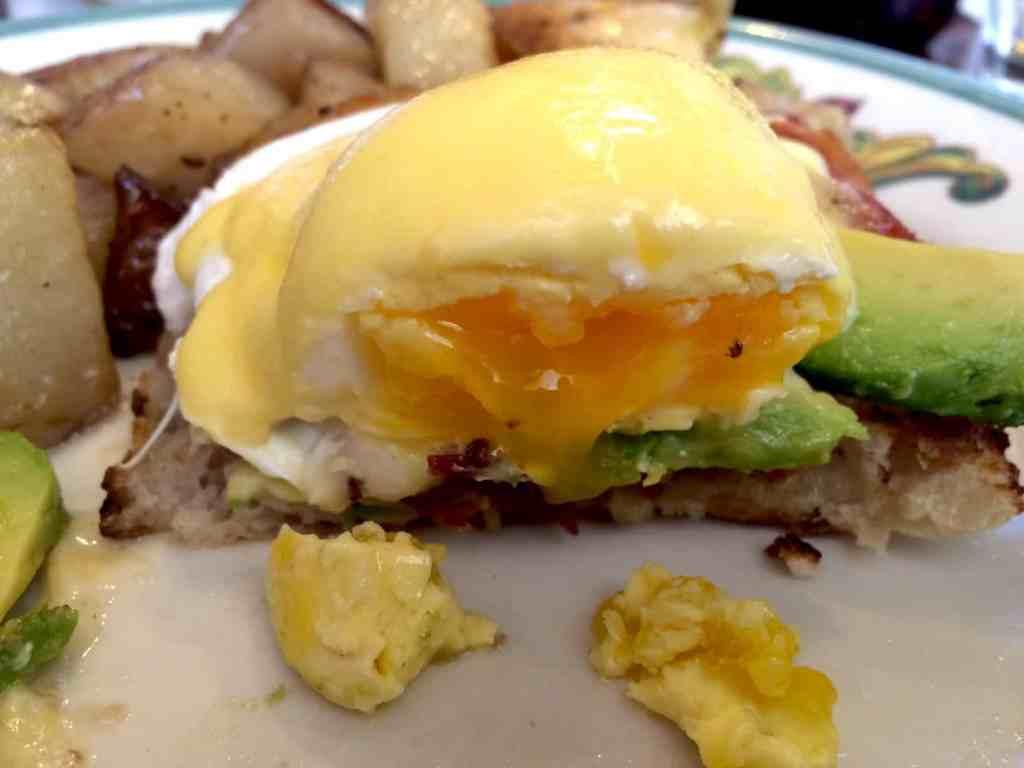 closeup of eggs benedict at Zazie
