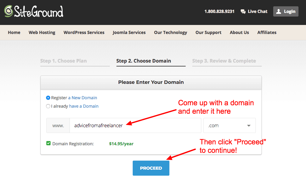 How to Start a Blog on SiteGround- Choose a Domain