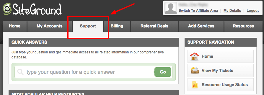 How to Start a WordPress Blog on SiteGround: SiteGround Support tab