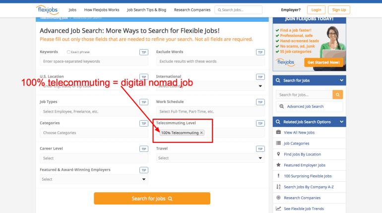 digital nomad jobs - flexjobs