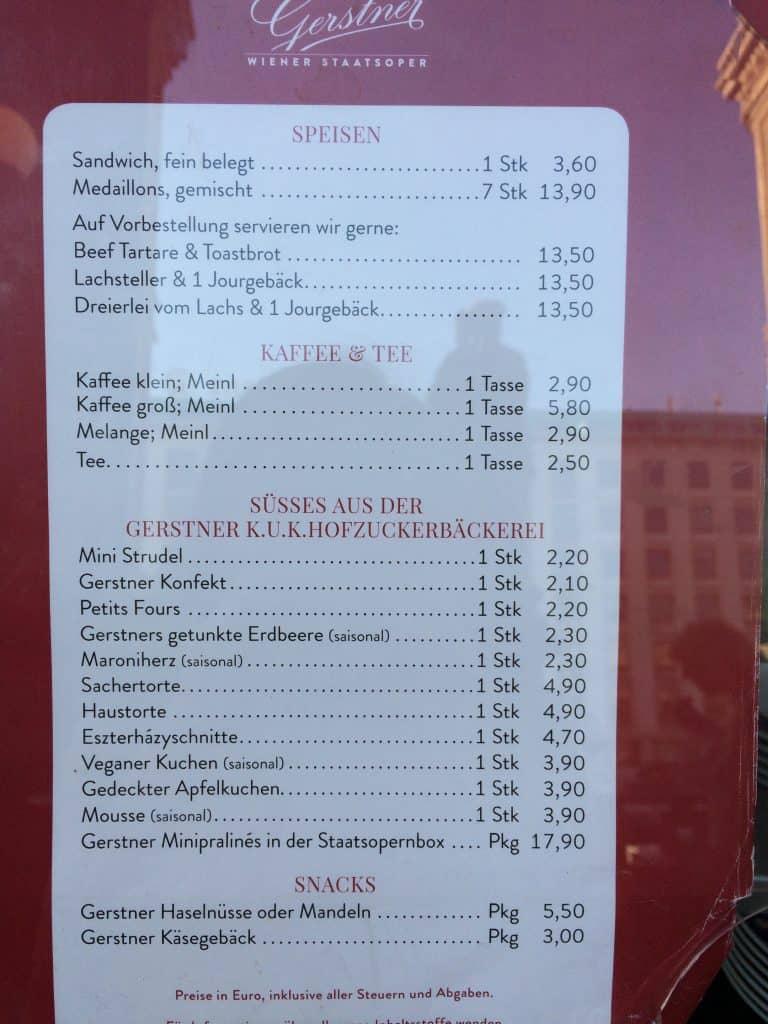 Vienna Opera House food menu