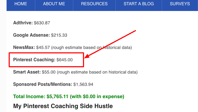 how to monetize a blog - coaching example