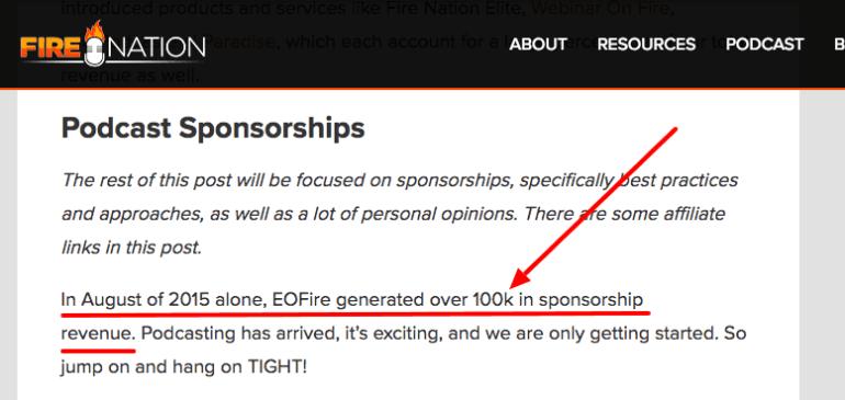 how to monetize a blog - podcast sponsorship revenue