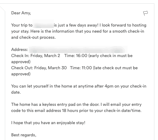 Airbnb host tips - 3 days before arrival message
