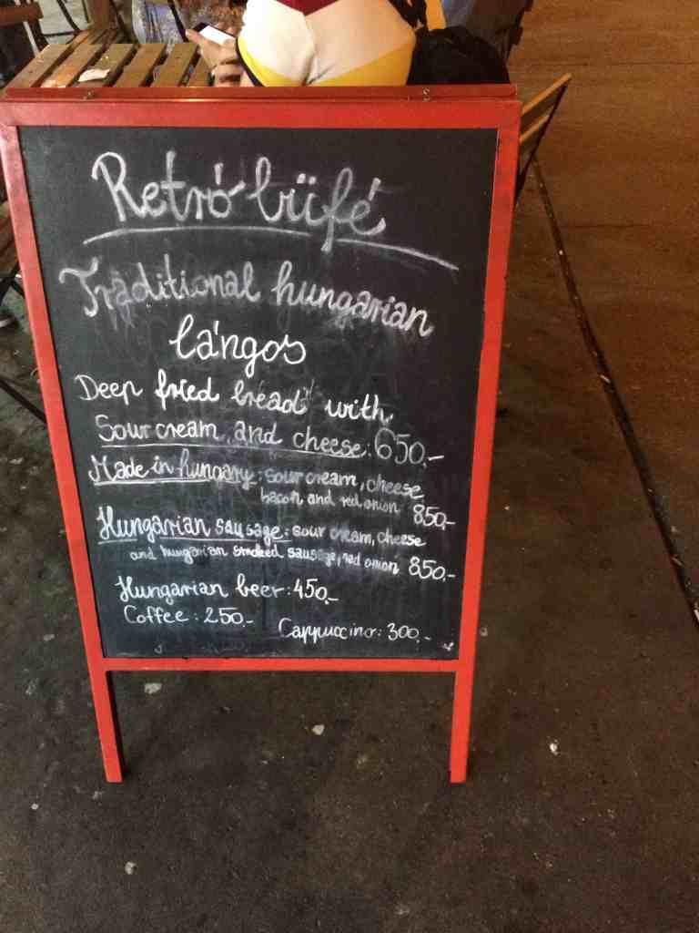 3 days in Budapest - Retro Langos menu