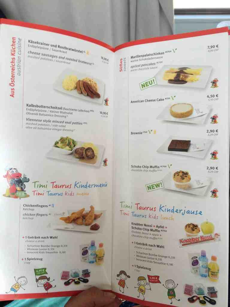Train from Venice to Salzburg dining cart menu 2
