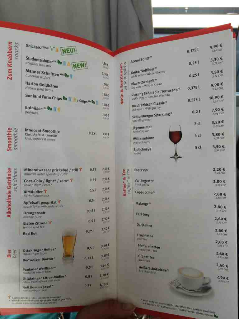 Train from Venice to Salzburg dining cart menu 4