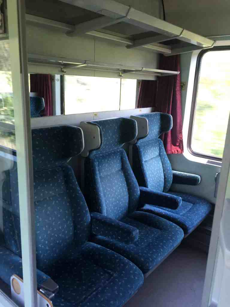 Train From Vienna to Budapest - Seats inside compartment