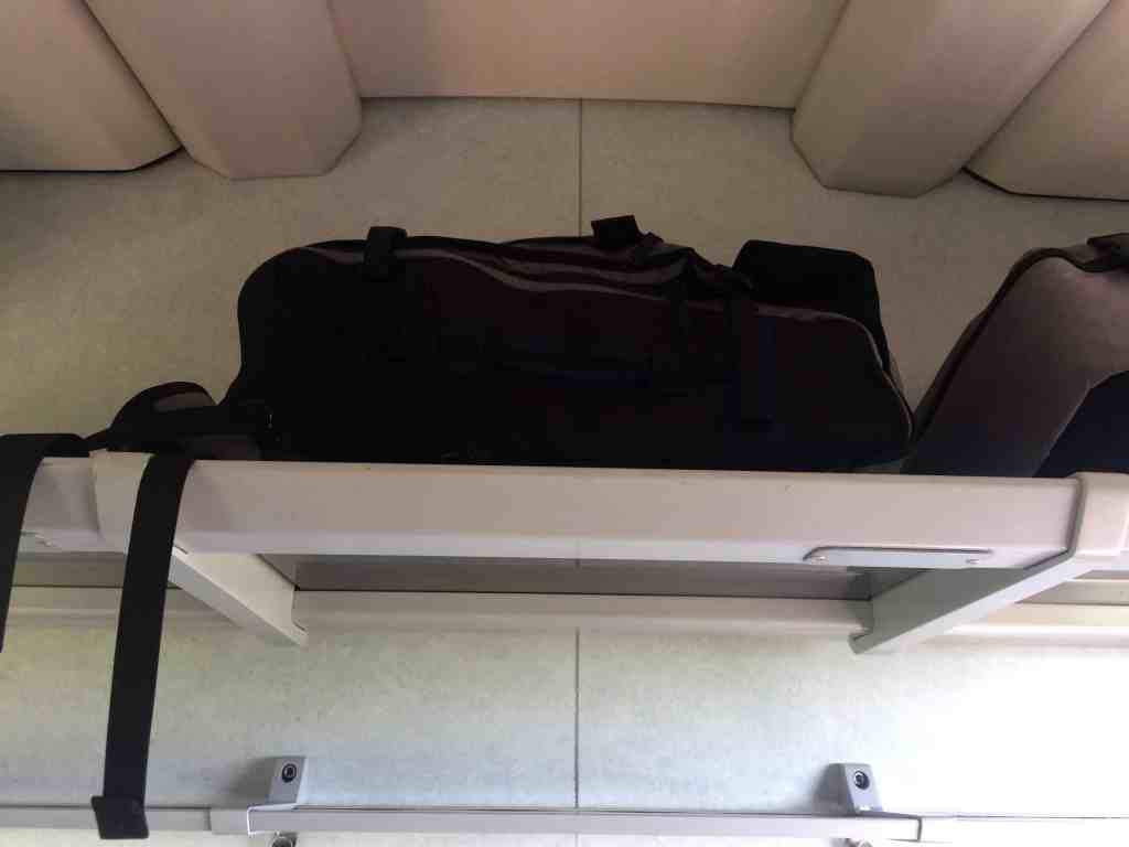 Train from Vienna to Budapest - Luggage racks above the seats