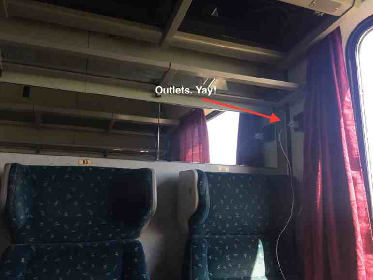 Train from Vienna to Budapest - Outlets on regional train to Budapest