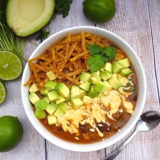 Vegan Tortilla Soup with Jalapeño Cashew-Queso
