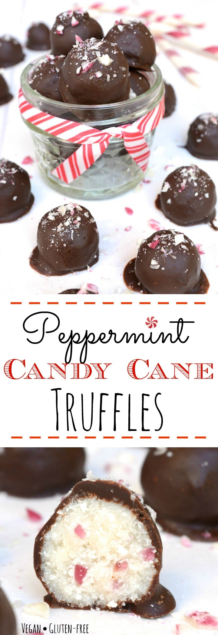 Peppermint Candy Cane Truffles are loaded with an irresistible candy cane crunch. They are a great allergy-friendly holiday treat or a perfect homemade gift. Vegan, gluten-free, nut-free and only 6 simple ingredients to make! You don't have to like the holidays to LOVE these truffles!