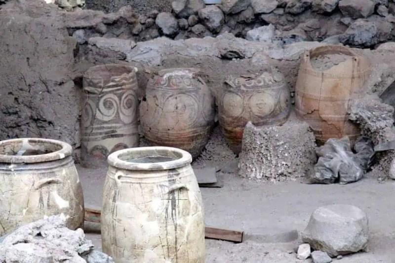 Pottery at Ancient Akrotiri Santorini