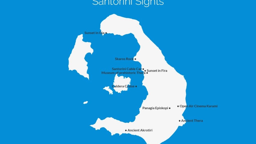 What to do in Santorini map
