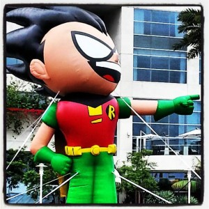 """Ha ha!"", says Robin in giant inflatable form outside the Hilton."