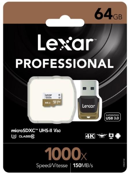 Lexar, Professional, 1000x, 64GB, microSDXC