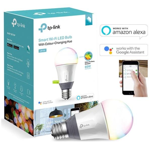 TP-Link, LB130, Smart Wi-Fi,, LED, Light Bulb, RGB, Multicolour