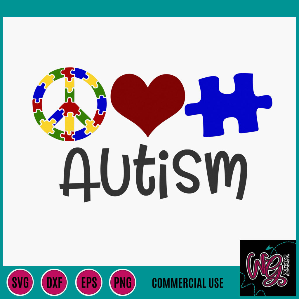 Download Peace Love Autism SVG, DXF, PNG, EPS