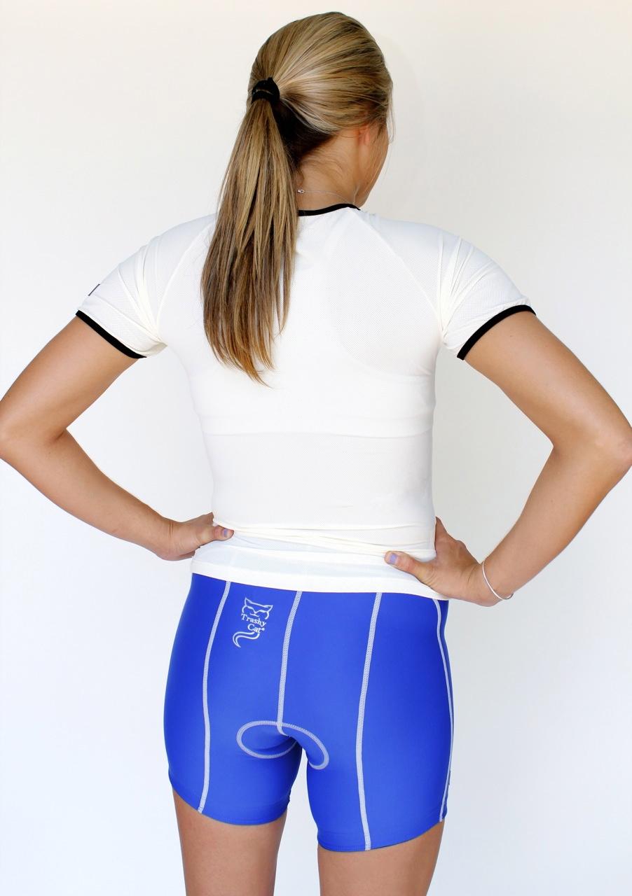 Indoor Group Cycling  Shorts  Trashy Cat Blue Satin Short  Womens Cycling Clothing