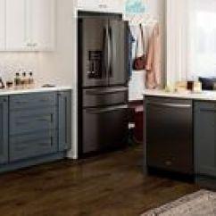 Kitchen Appliance Packages Stainless Steel Slim Cabinet Fingerprint Resistant Black Matte Appliances From Whirlpool