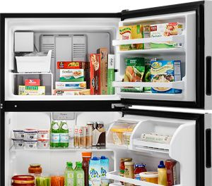 hight resolution of top freezer refrigerator from whirlpool with open doors