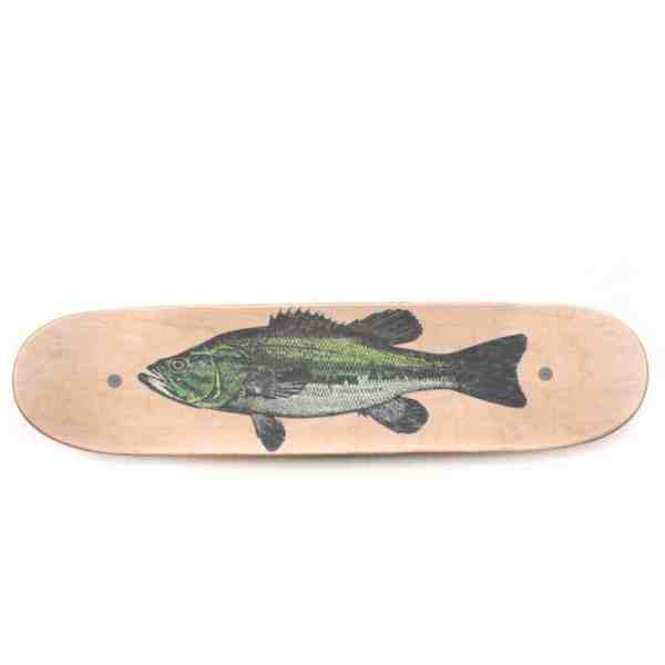 Fish Whirly Board with Bass Sticker and Clear Skateboard Grip Tape