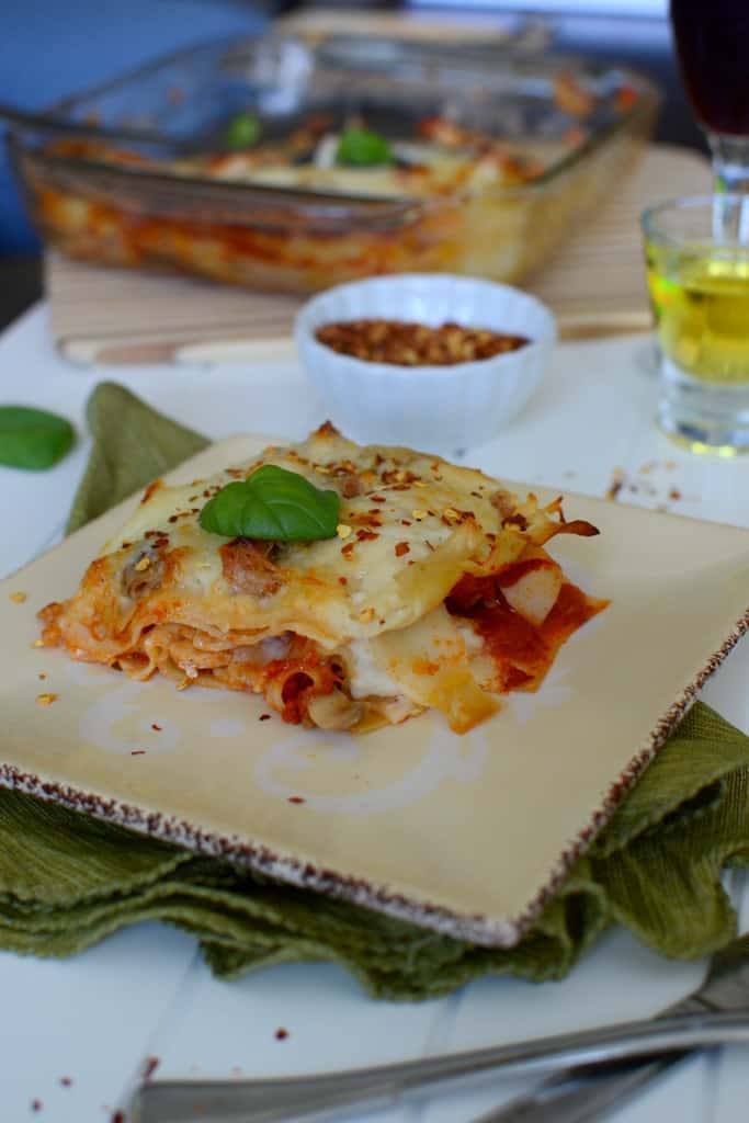 Roasted Chicken and Mushroom Lasagna with Bechamel and Tomato Sauce