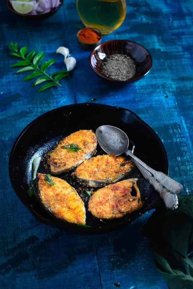 Chettinad fish fry recipe how to make chettinad fish fry for Fish fry ingredients