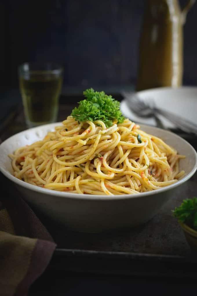 Spaghetti in Tomato Cream Sauce Recipe