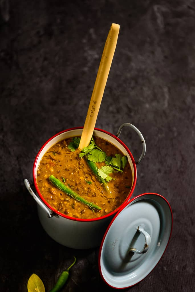 Dal Amritsari is a common preparation of Punjab. This lentil preparation is prepared from whole urad dal, which is slow cooked until it is creamy and flavorful.