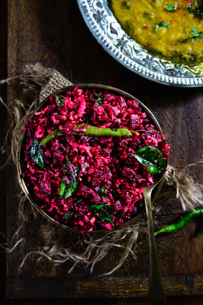 beetroot poriyal is a healthy and delicious beetroot stir fry with