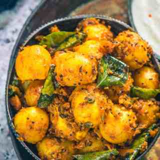 Bombay Potato is a popular dish made using baby potatoes and Indian masalas. Popular in the UK as well, this dish can be served with Rotis, Dal and Rice.