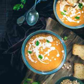 Thai Style Butternut Squash Soup is a wholesome accompaniment made using Thai Red Curry Paste, chicken stock, butternut squash and more.