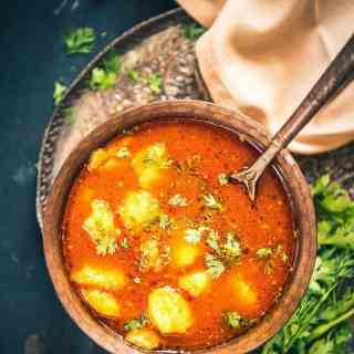 Bhandare wale aloo is a traditional North Indian recipe usually made during 'poojas' or 'hawans' at the temple or even at home.