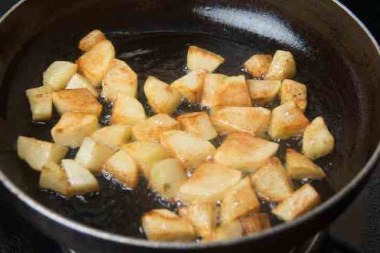 Potato cubes fried until browned
