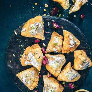 Mava Samosa is a delightful Indian dessert which is served during festivals and even on auspicious occasions. Made from Khoya, it is a delightful treat!
