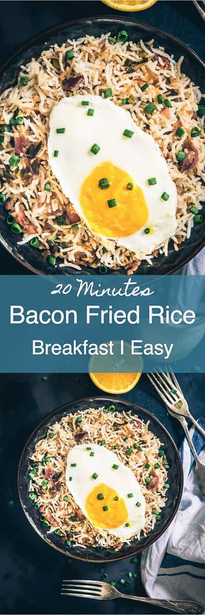 Loaded with bacon and eggs, Breakfast Bacon Fried Rice Recipe turns out to be an interesting combination which you can savour any time of the day! Bacon I Rice I Easy I Simple I Perfect I Best I Delicious I Brekkie I