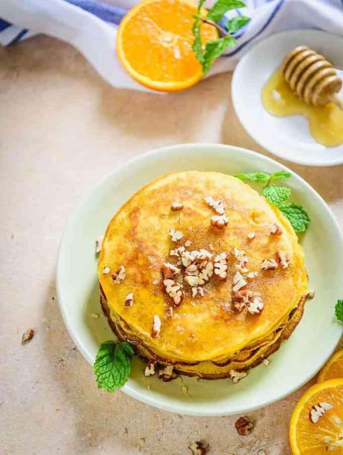 Healthy Whole Wheat Orange Breakfast Pancakes Recipe, orange zest pancakes, easy orange pancake recipe, orange juice pancakes, healthy orange pancakes, simple orange pancakes