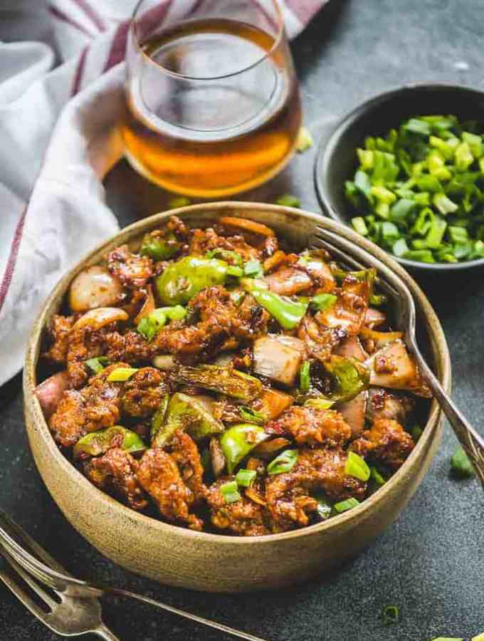 Essentially speaking, Indo Chinese Chilli Chicken Dry is a nice saute of spices, sugar, sauces and boneless chicken cooked till perfection.