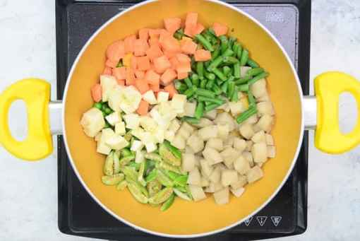 Vegetables added in the pan.