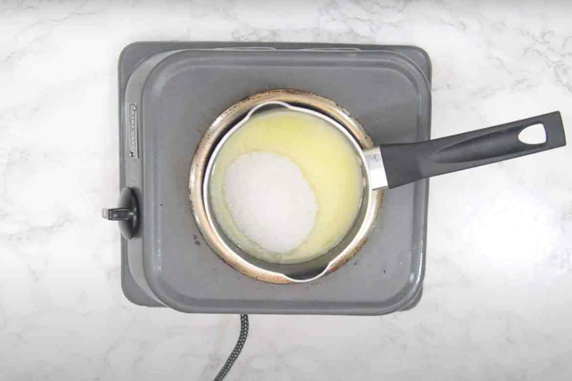 Sugar added in the pan.